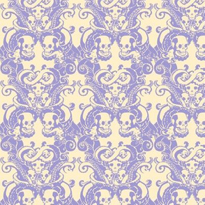 Skull & Tentacle in pale lavender & cream halfsize