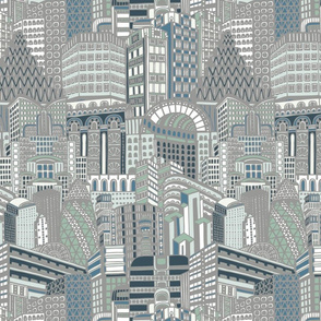 Art Deco City Pale Grey Muted