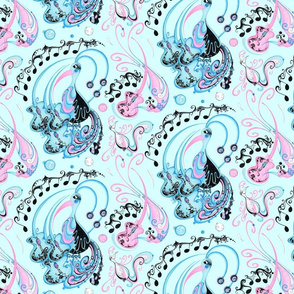 Guitar Beaks, Musical Birds- Music Notes- Light Blue Background- Light Pink, Pastel