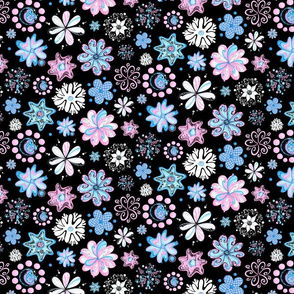 Ornate Flowers- Large- Black Background- Blue Black Pink Pastel Swirly Flowers, Designs