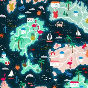 islands // tropical treasure map island fabric map fabric