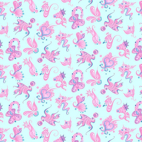 Pink Designs- Large- Light Blue Background- Swirly