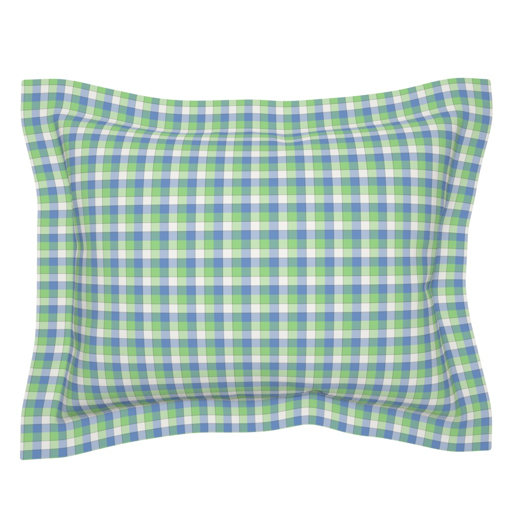 "Sebright Pillow Sham featuring paneled tartan - 1.5"" - fifties blue, green and pearl by weavingmajor"