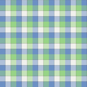 "paneled tartan - 1.5"" - fifties blue, green and pearl"