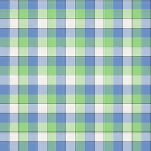"paneled tartan - 1.5"" - fifties blue, green and pearl"