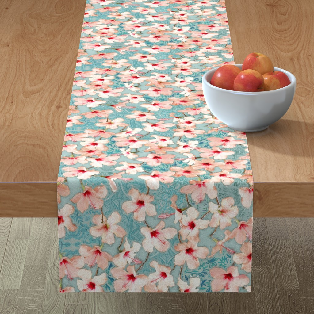 Minorca Table Runner featuring Shabby Chic Painted Hibiscus Pattern - peach & mint by micklyn