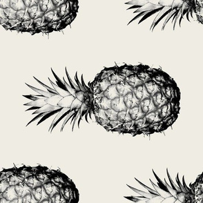 Pineapples black and cream large - rotated