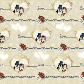 Penguin Wedding Hearts On Beige
