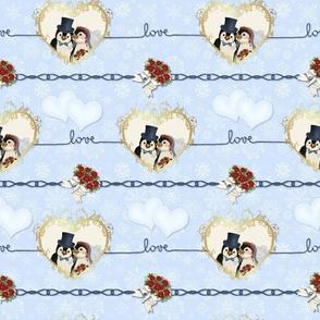 Penguin Wedding Hearts On Blue