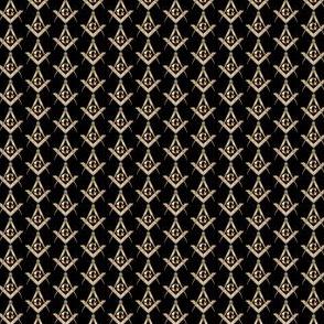 """Small 1/2"""" Masonic Square Compass Black Gold"""