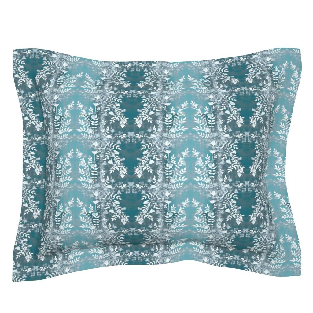 Sebright Pillow Sham featuring Teal rose garden silhouette by mypetalpress