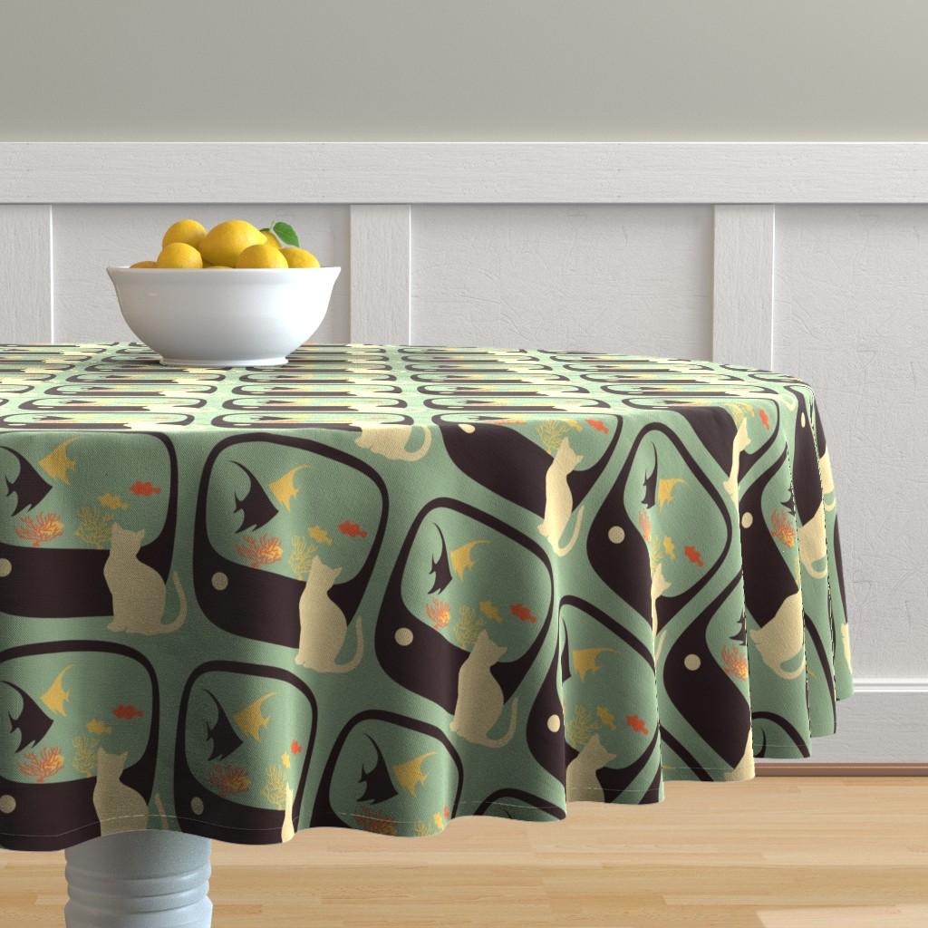 Malay Round Tablecloth featuring Tabby TV by joheadington