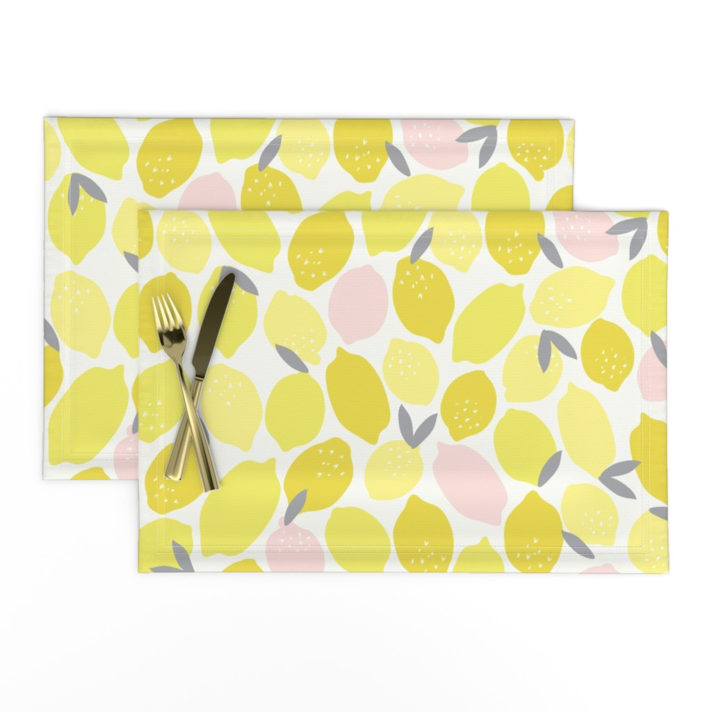 Lamona Cloth Placemats featuring Pink Lemonade by shelbyallison