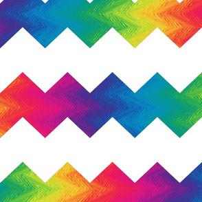white and rainbow chevron
