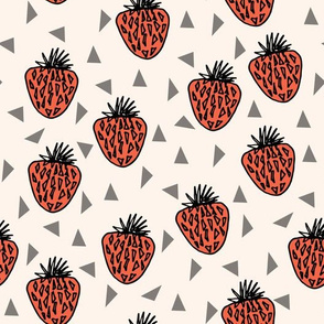 strawberry // fruits sweet summer red triangles kids berry summer