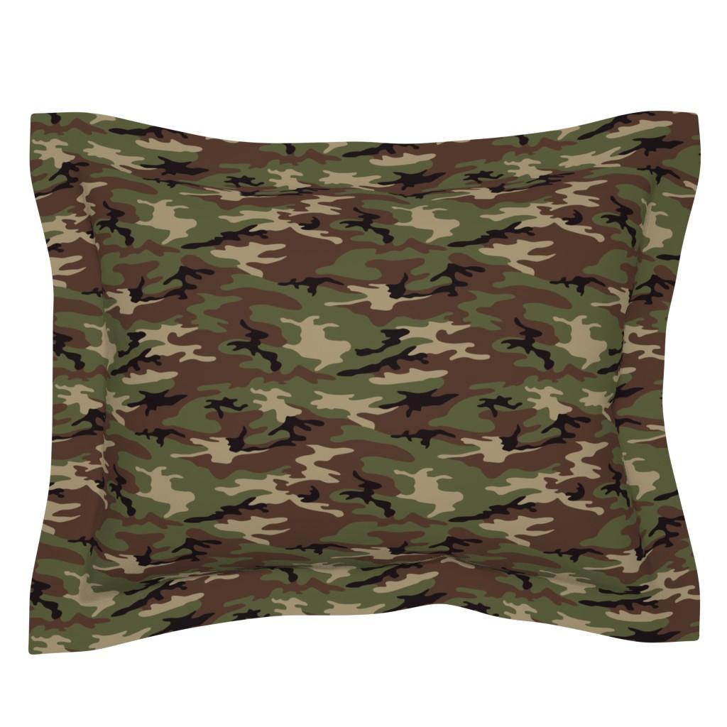 Sebright Pillow Sham featuring Woodland Camo by ohdarkthirty