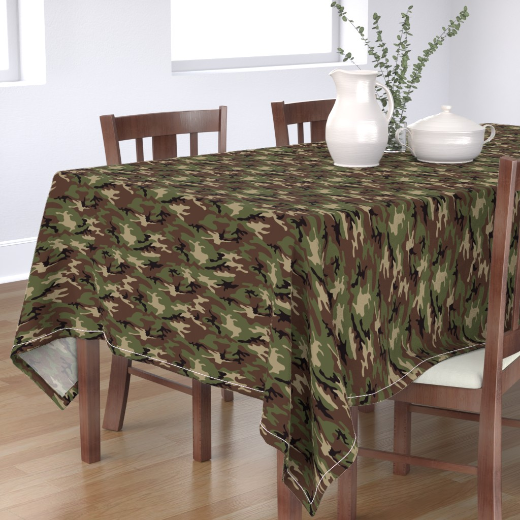 Bantam Rectangular Tablecloth featuring Woodland Camo by ohdarkthirty