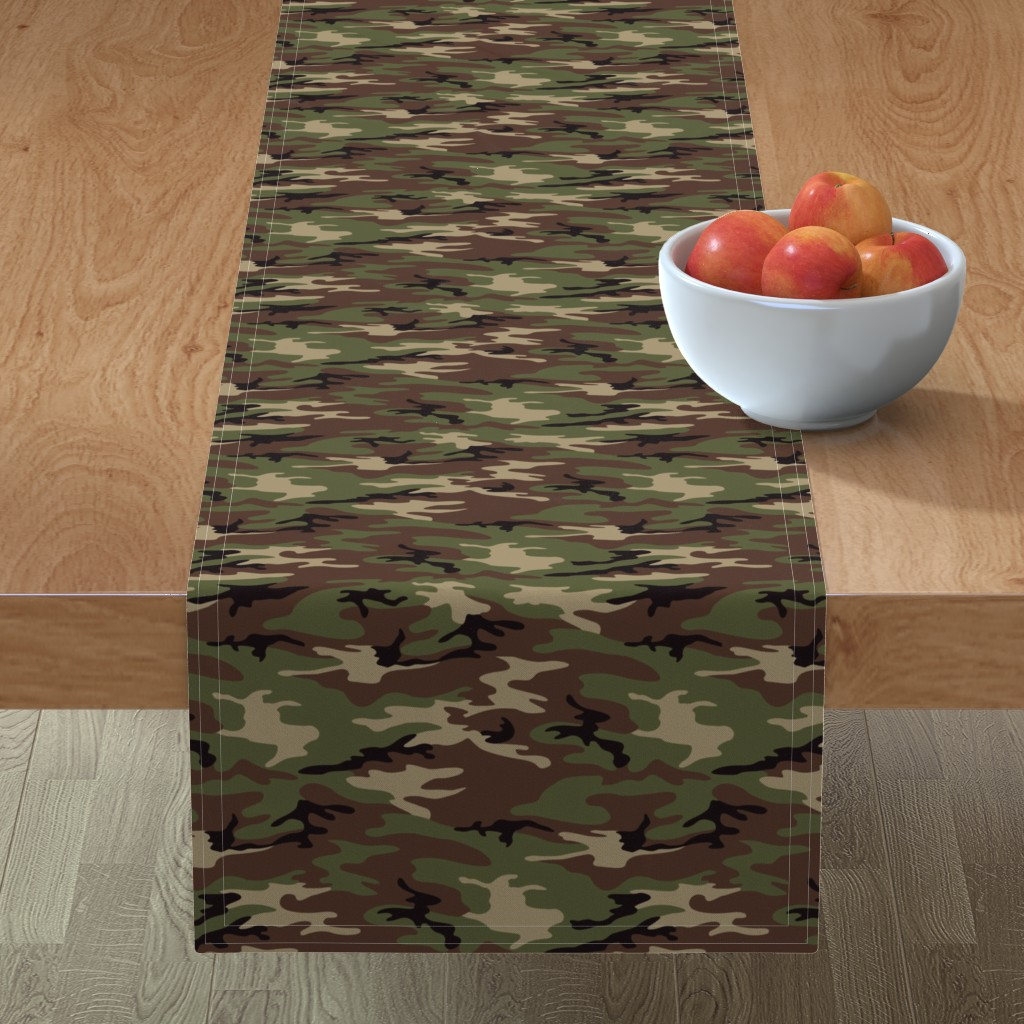 Minorca Table Runner featuring Woodland Camo by ohdarkthirty