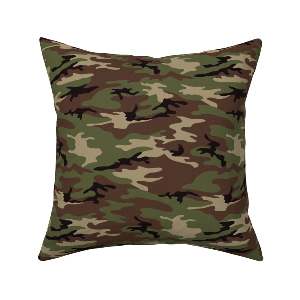 Catalan Throw Pillow featuring Woodland Camo by ohdarkthirty