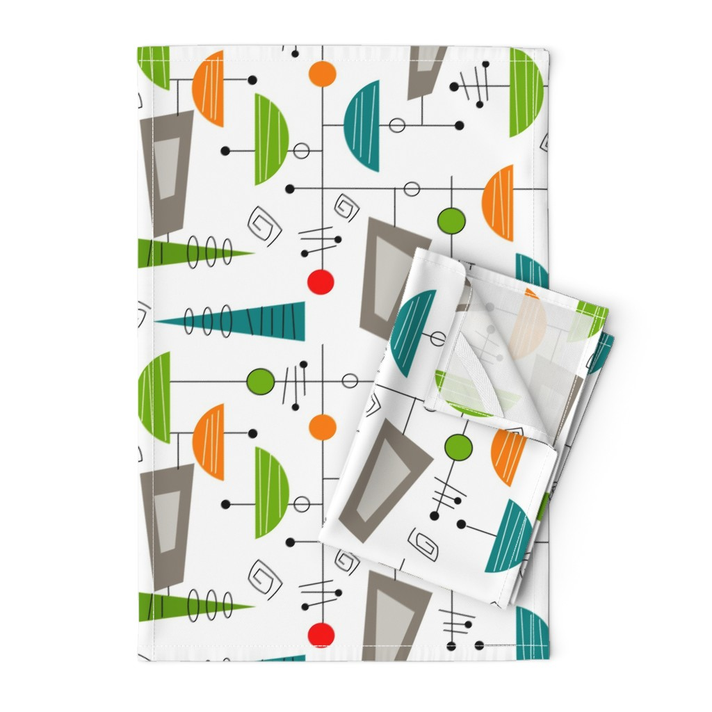 Orpington Tea Towels featuring Atomic Era Abstract by hot4tees_bg@yahoo_com