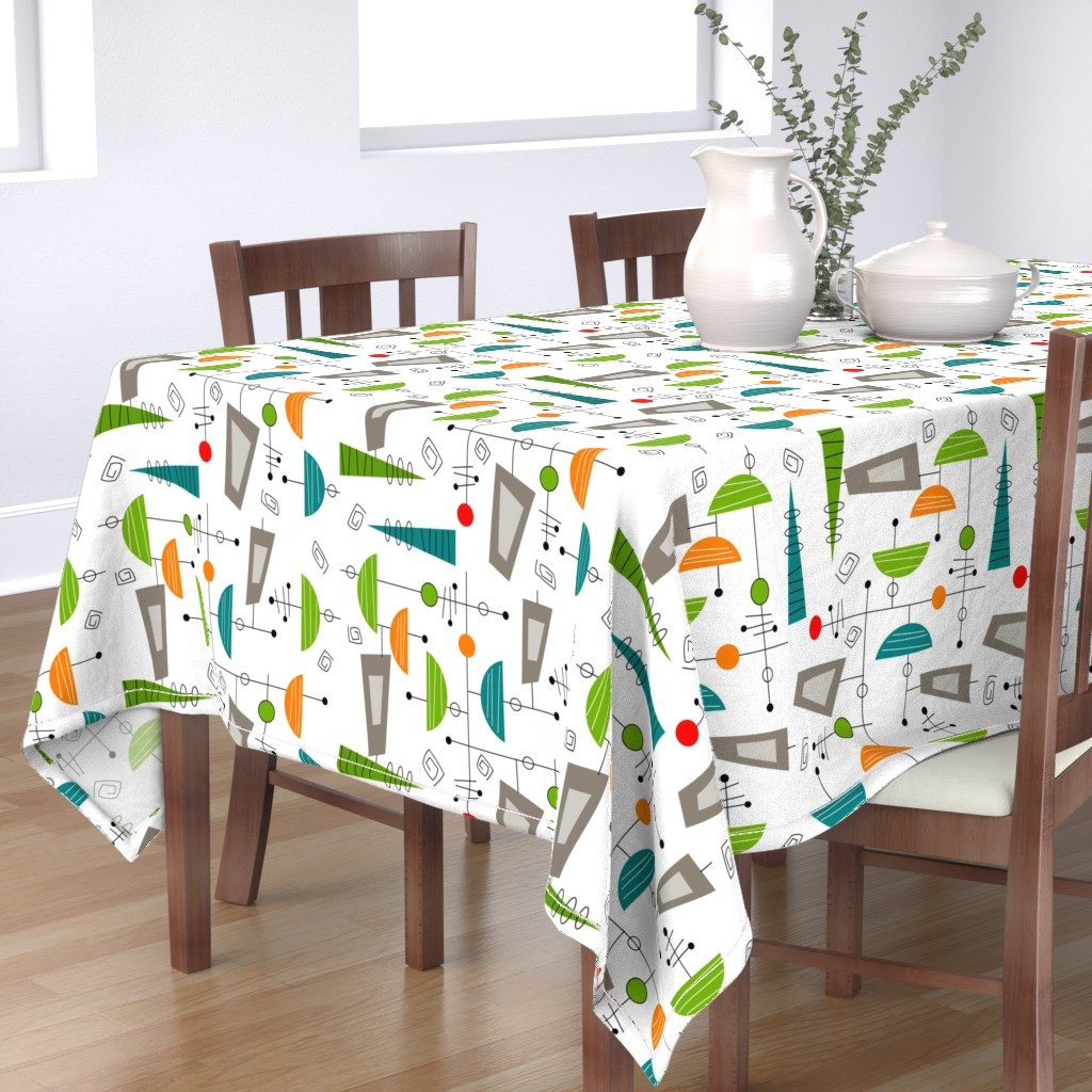 Bantam Rectangular Tablecloth featuring Atomic Era Abstract by hot4tees_bg@yahoo_com