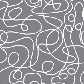 Doodle Line Art | White Lines on Gray Background