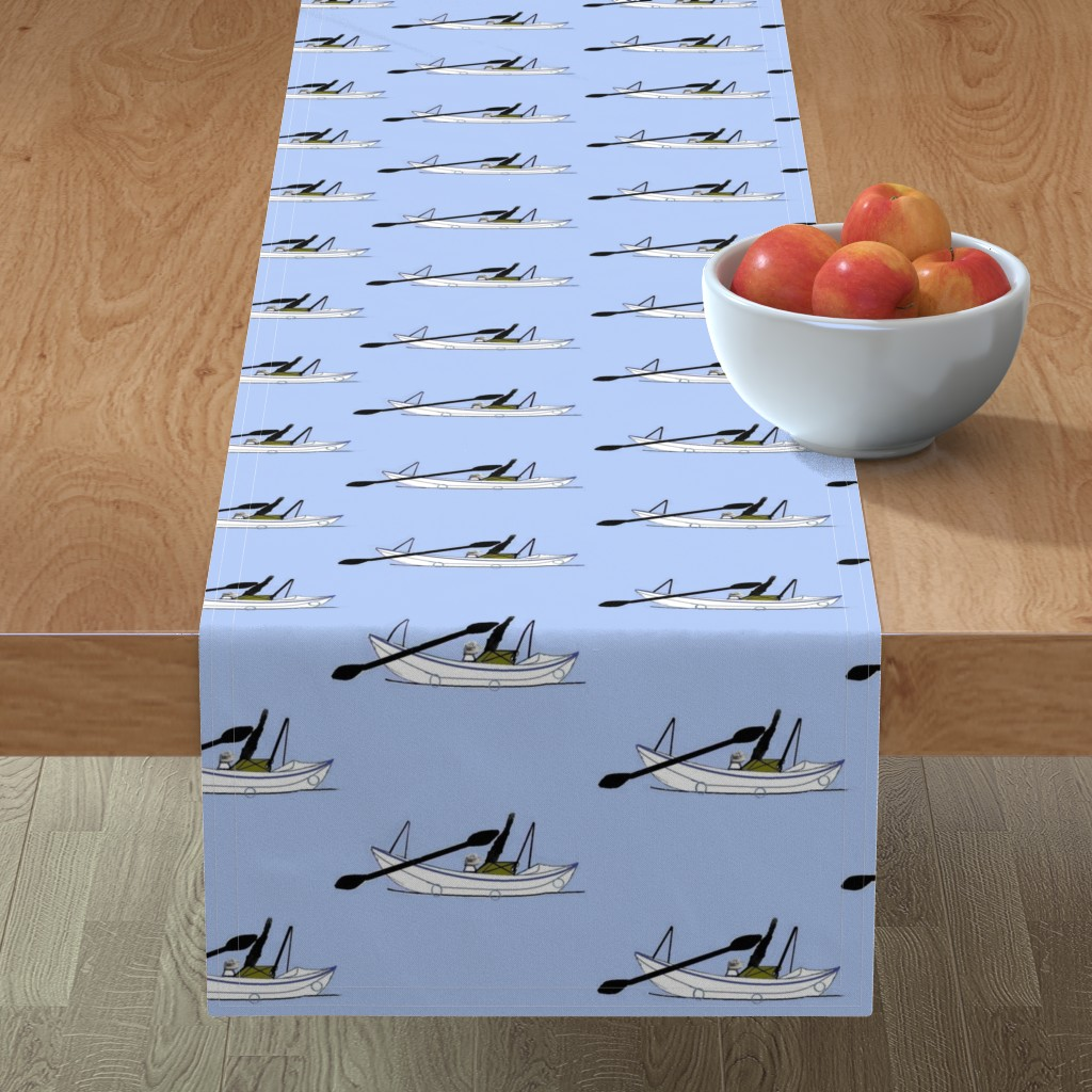 Minorca Table Runner featuring kayak_sketch_2 singles by kittykittypurrs