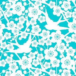 Cherry Blossom Negative - Aqua