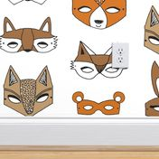 Set of 4 - Bandit Animals  by andrea/_lauren Woodland  Mask Forest Animal Cloth Napkins by Spoonflower Cute Animals Cocktail Napkins