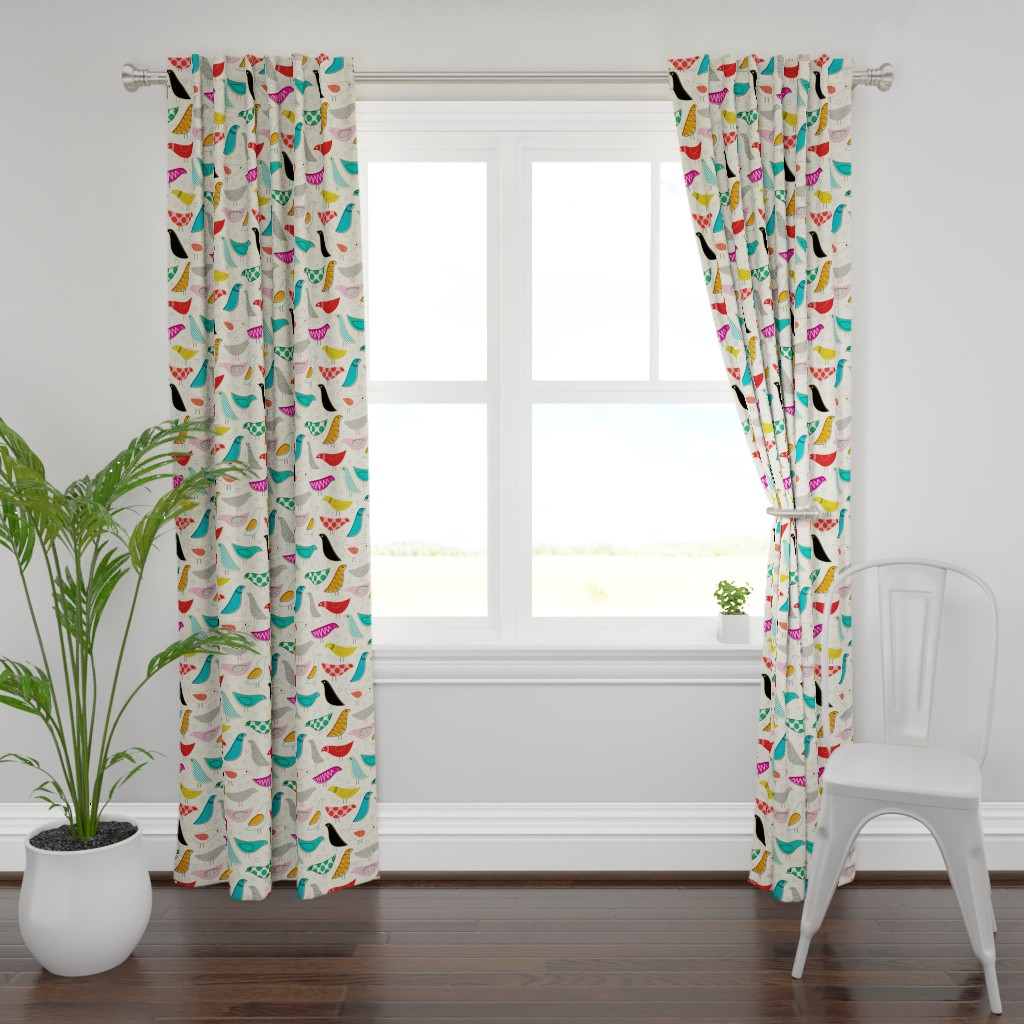 Plymouth Curtain Panel featuring A Nod to the House Bird by katerhees