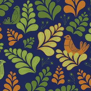 Leaves with Birds