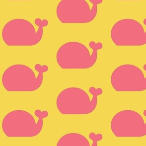 Whale - Cotton Candy Pink and Sunny Yellow