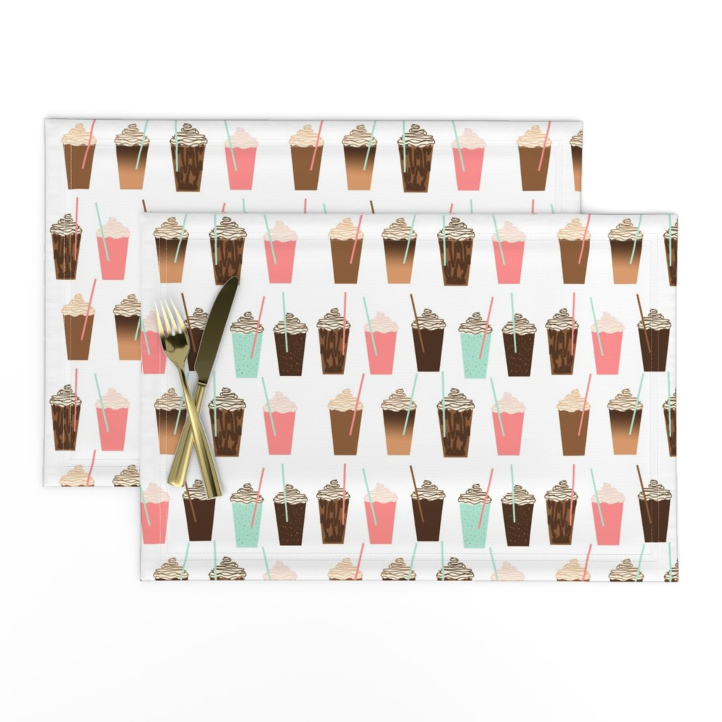 Lamona Cloth Placemats featuring Iced Coffee - cute summer iced coffee pastel girly drinks by charlottewinter