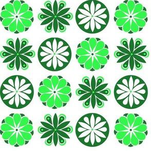 Winter Flowers in Green
