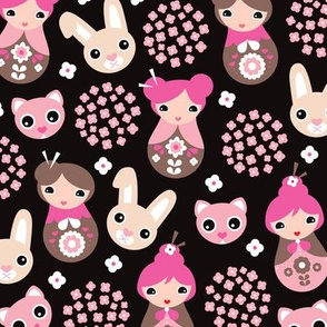 Cherry blossom cute pink bunny cat and geisha girls japan theme kids pattern