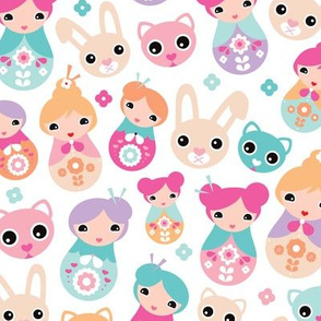 Cute pastel colored girls geisha pattern with bunny cat and cherry blossom colorful illustration print