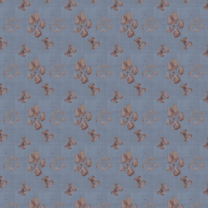 Muddy paw prints on linen - blue