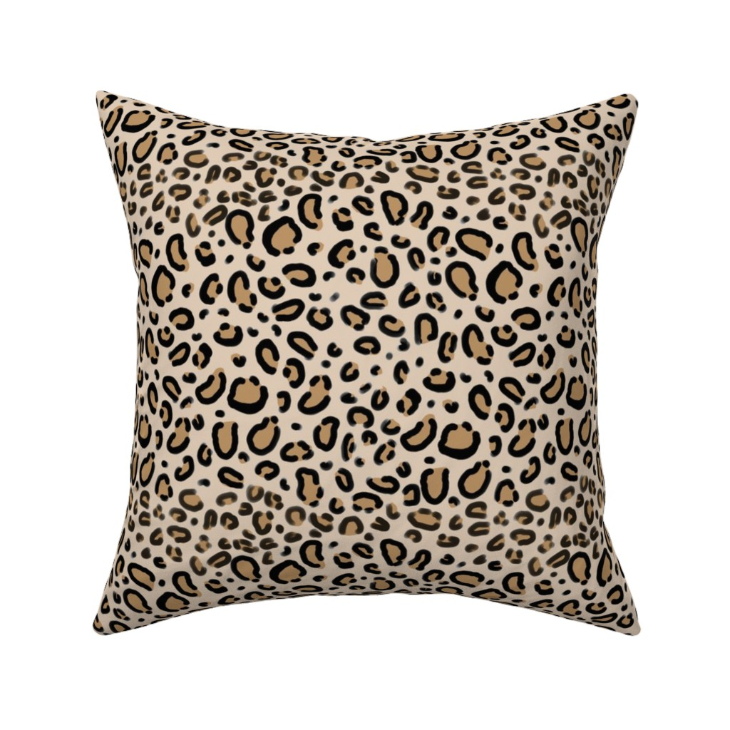 Catalan Throw Pillow featuring leopard print - tan natural animal cheetah safari print by charlottewinter