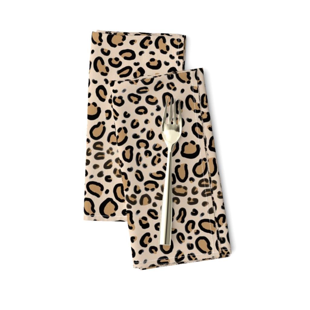 Amarela Dinner Napkins featuring leopard print - tan natural animal cheetah safari print by charlottewinter