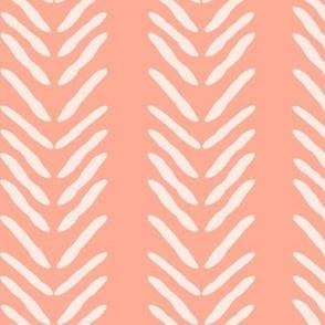 Herringbone on Coral / Salmon Pink