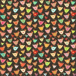 Сhicken, colorful birds