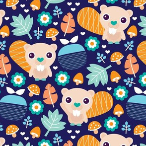 Cute little beaver fruit flowers and leaf fall woodland theme for boys