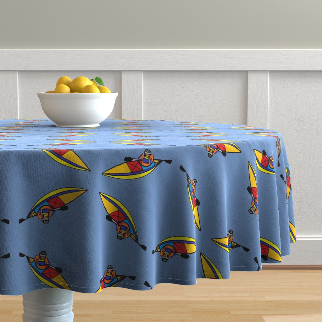 Malay Round Tablecloth featuring Kayaking_paddle_trip_Blue by kittykittypurrs