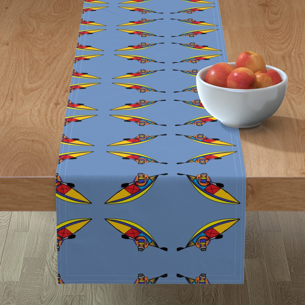 Minorca Table Runner featuring Kayaking_paddle_trip_Blue by kittykittypurrs