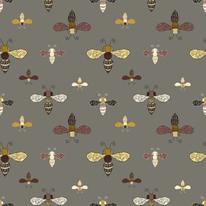 Ornate Bees on Gray