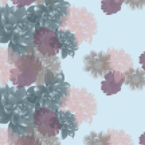 "Pixelated Floral Border - Blue (56"")"