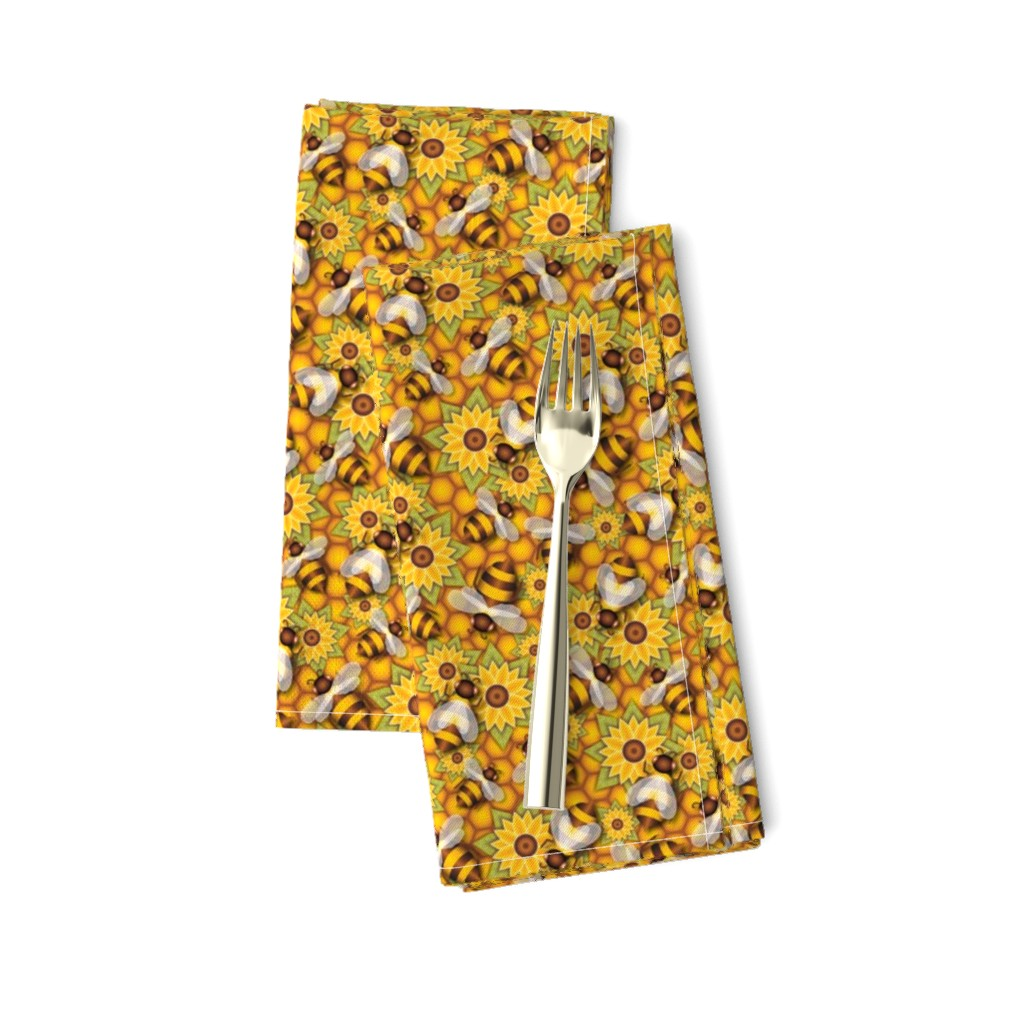 Amarela Dinner Napkins featuring Honeybees by jjtrends