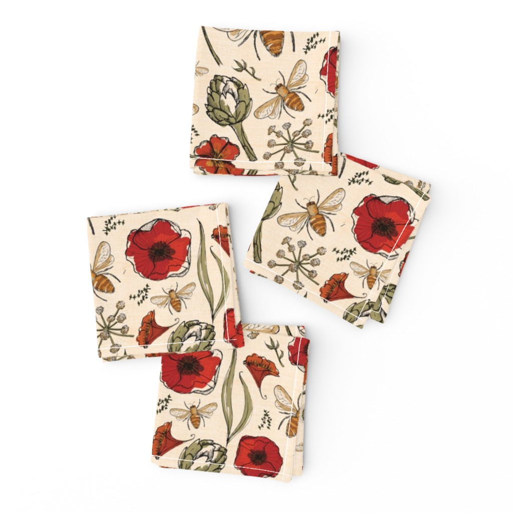 Frizzle Cocktail Napkins featuring The art of bee keeping  Bees Artichoke Poppy Floral by laurawrightstudio