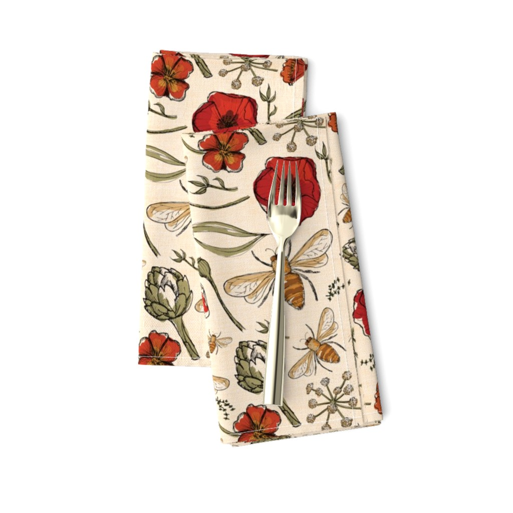 Amarela Dinner Napkins featuring The art of bee keeping  Bees Artichoke Poppy Floral by laurawrightstudio