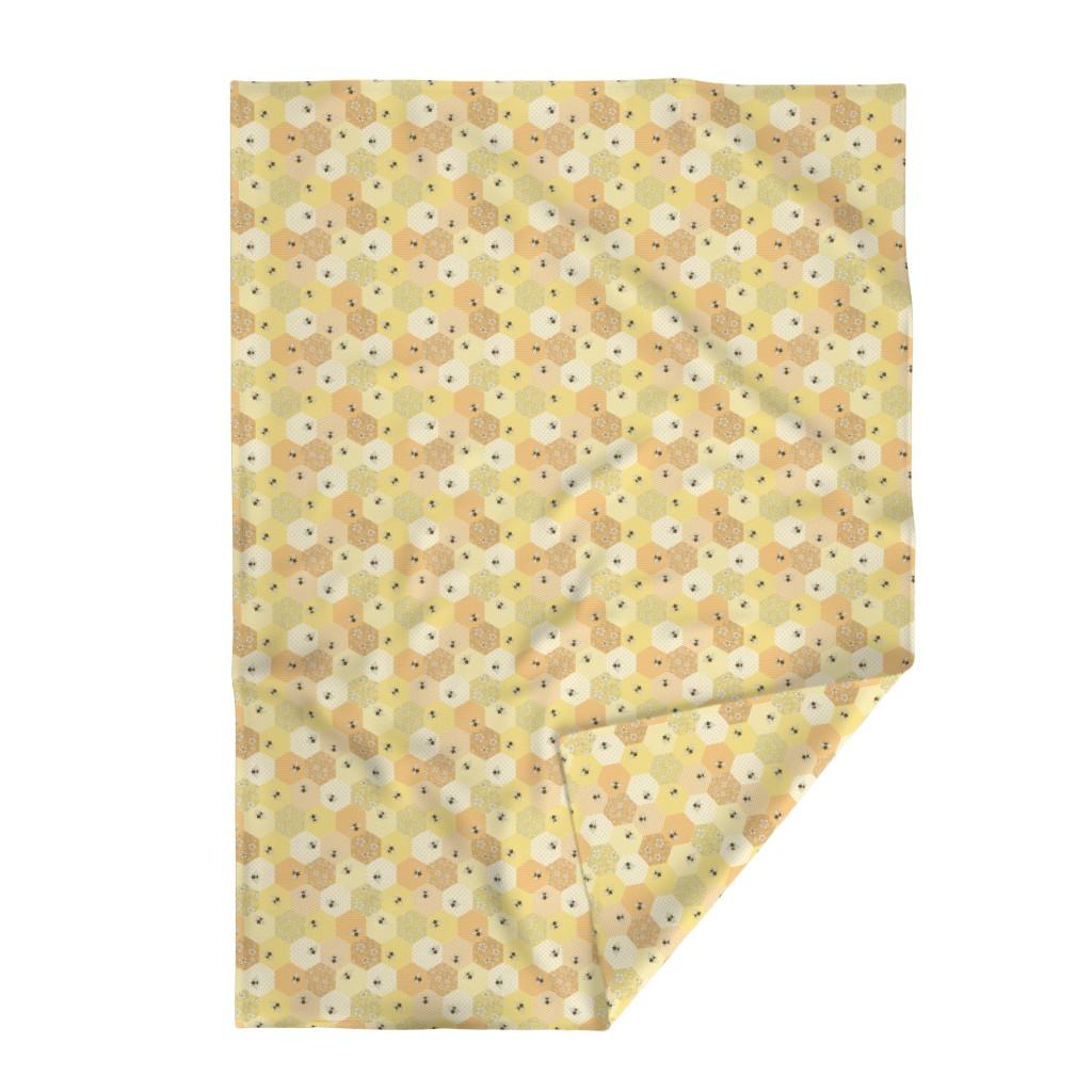 Lakenvelder Throw Blanket featuring Patchwork Bees by hazelfishercreations